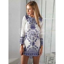 Vestido curto azul e branco com cinto tipo cordão XL