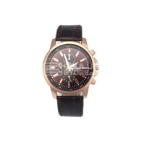 Relógio Geneva clássico castanho e rosado