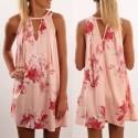 Vestido curto em rosa florido