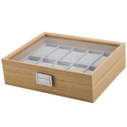 Caixa estojo para 10 relógios tipo madeira