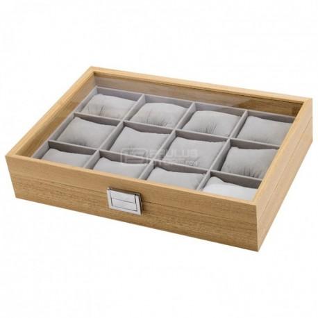 Caixa estojo para 12 relógios tipo madeira