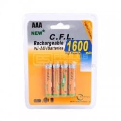 Pilhas recarregáveis 4 x AAA 1600mAh