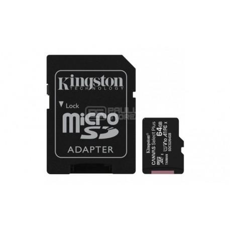 Cartão Memória 64Gb Kingston Canvas Select Plus C10 A1 UHS-I microSDHC + Adaptador SD