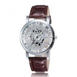 Relógio Esqueleto Prateado Castanho