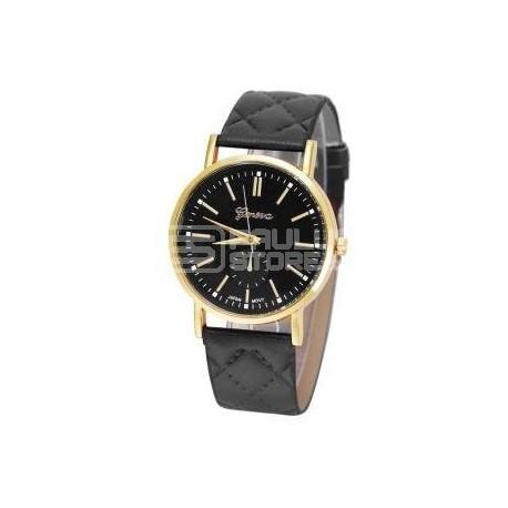 Relógio Geneva clássico preto e dourado