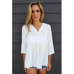 Blusa branca 3/4 com renda nas costas